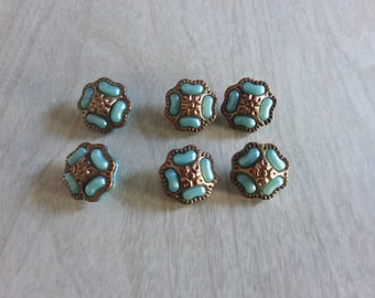 Vintage Gold and Turquoise/Aqua Colored Buttons