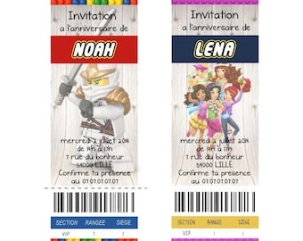 Lego invitation customized with the theme of your choice and envelope template to print