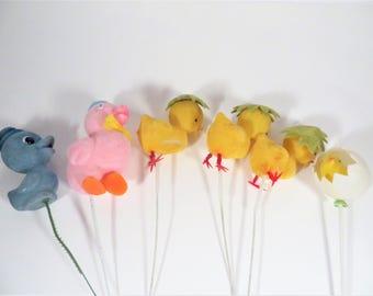 Vintage Set of 6 Flocked Easter Flower Picks -  Decorative Flocked Easter Picks