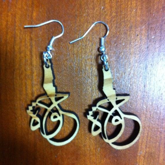 Beautiful Palestine Arabic Calligraphy Olive Wood Earrings