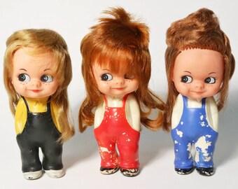 Lot 3 Vtg Rubber Girl Googly Eye Dolls - Red Blue Black Overalls, Tomboy