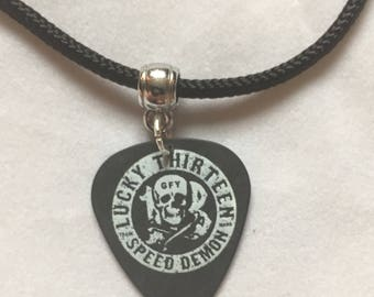 Lucky 13 Speed Demon Guitar Pick Necklace