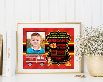 Personalized Picture Fire Fighter Birthday Invitation