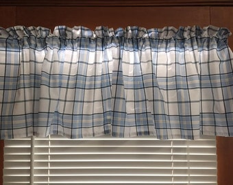 Blue Plaid Curtain Valance ~ 66 Inches Wide