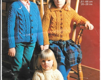 Sunbeam Childs Aran Cardigan / Jumper knitting pattern - size 20 inch - 26 inch - Age 18 months - 8 years