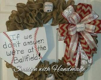 Baseball Wreath with Custom Home Plate Sign, Custom Burlap Baseball Wreath, Burlap Baseball Wreath, Housewarming Gift, Home Team Baseball