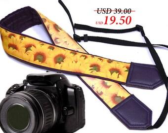 Dark purple sunflowers Camera strap with sun glint (one side is lighter).  DSLR /SLR Camera Strap. Camera accessories.