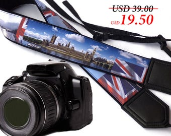 London camera strap.  Big Ben camera strap. City view. DSLR / SLR Camera Strap. Camera accessories by InTePro