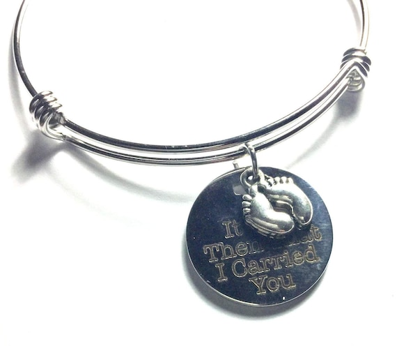 Footprints Poem Expanding Bangle Charm Bracelet, It Was Then That I Carried You, Sympathy Gift For Her, Mothers Day Gift, Daughter Gift