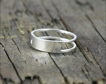 925 stering silver double line band ring, retangular ring (R_00016)