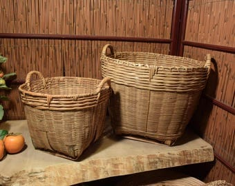 Large and Small Set of 2 Vintage Chinese Bamboo  Basket Containers Storages With Two Side Handle