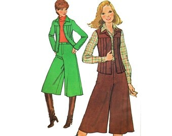 Gauchos Pattern Western Gauchos Tucked Vest and Jacket Pattern Vintage 1970s Sewing Pattern Simplicity 8202 Size 10 Bust 32.5 UNCUT
