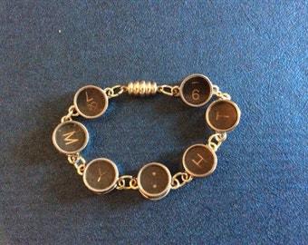 Antique Typewriter  Key and Charm Bracelet