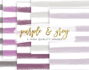 Purple digital paper, lavender Watercolor rose, lavender Watercolor stripe, invitation paper, book background, Gray Stripe Watercolor