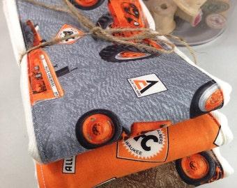 Burp cloth, allis chalmers, Milwaukee, orange tractor
