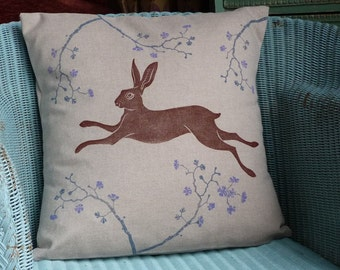 Brown Hare Cushion. Hare Pillow. Brown Hare. Blue Blossom.