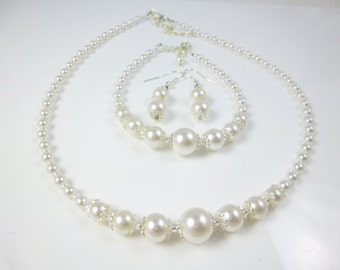 Pearl Necklace Set, Dainty Pearl Necklace, Bridal Jewelry,  Bridesmaid Necklace Set, Dainty Necklce