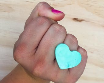 Adjustable Candy Love Heart Ring - Mint Green