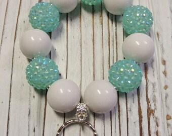 Large Bead Bracelet Keychain, 20 mm bead Key Chain, Aqua and White