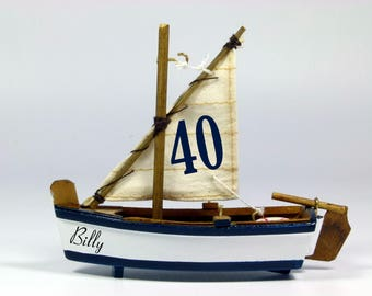 Personalised Birthday cake topper, miniature model sailing skiff, boat, nautical, beach theme, 10cm