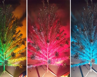 Vintage 50s Pom-Pom Aluminum Christmas Tree 6' 83 Branch WITH Color Wheel