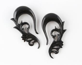 "7/16"" Gauge Stretched ears - Horn Hanging Carved Plugs - 11 mm Gauged Ears - 7/16"" Horn stretch plugs - 11mm stretching ear *B039"