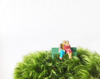 Bench kiss terrarium figurine, Terrarium Figurines, Moss Terrarium Figurine, Terrarium Accessory, Terrarium Miniatures