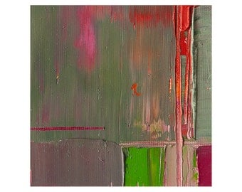 "Small Abstract Painting Modern Oil Canvas Original Wall Art Contemporary Interior Home Decor, Red And Green Colors, 4""x 4"""