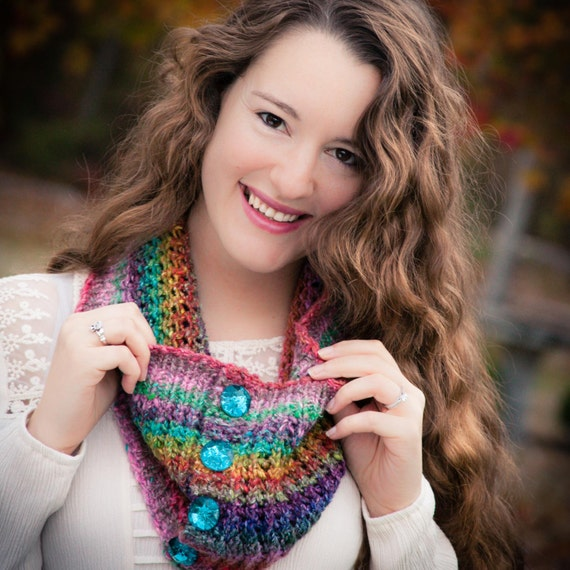Loom Knitting Questions : Loom knit lace cowl pattern eyelet colorful dressy