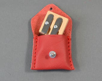 Handmade Red Leather Double Pencil Sharpener Case & Sharpener