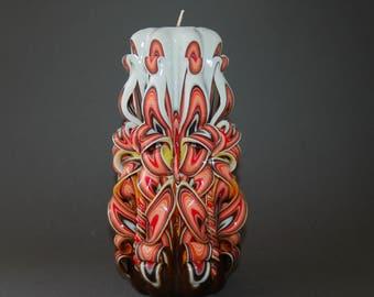 Geschnitzte Kerze Großen Tisch Herzstück Kerze Romantische Dekor Braun  Orange Hand Geschnitzte Kerze Sammlerstück Art Beste