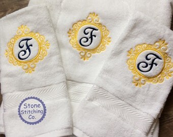 monogrammed towel set, monogrammed towels, personalized towels, embroidered towels, navy and gold towel set