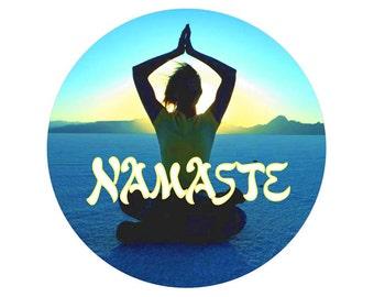 Namaste - Button / Pinback or Magnet