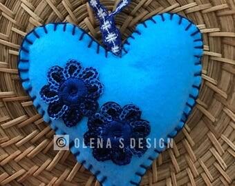 Felt Heart ornaments Easter Baby Shower  Christmas decoration felt  ornament flower holiday accessory felt décor Mother's Day felt gift