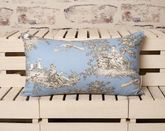 french toile de jouy blue cushion//toile de jouy blue pillow//toile de jouy cushion//light blue cushion//blue pillow//blue cushion//