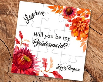 Bridesmaid puzzle invitation Will you be my bridesmaid gift card Ask bridesmaid Bridal party invitations Autumn wedding Bridesmaid gift box