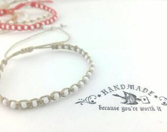 Thin White Beaded Hemp Bracelet Handmade, Bracelet, Hemp Bracelet, Beach  Bracelet, Hemp Jewelry, Summer  Bracelet, Boho Bracelet.