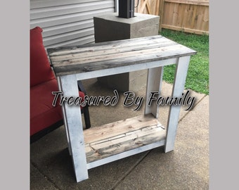 Hall Table entryway table buffett sofa table distressed white barnwood tops wood furniture