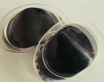 Vintage 1950s Black Patent Leather and Clear Lucite Shoe Clips
