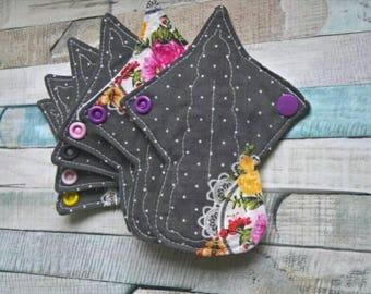6 pack Tiny thong Reusable Menstrual Pad, Washable, Sanitary Pads, Shabby polka,PUL backed cloth pad,  Rectangular Core
