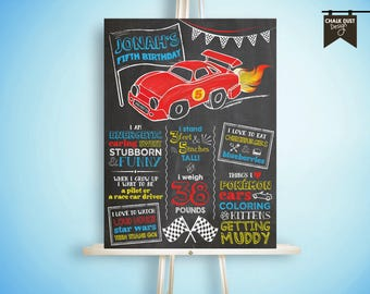 Custom chalkboard style first, second, third birthday or any age Race car milestone stat poster sign. Digital or printed 18x24
