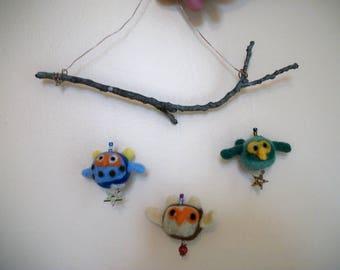 Owl Mobile, Felted Owls, Crib Mobile, Handmade Decoration, FeltWithAHeart