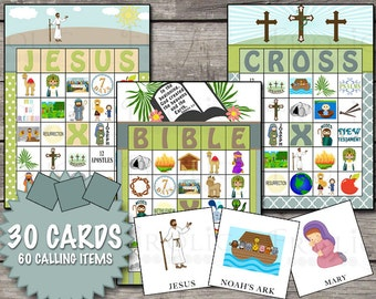 Religious Christian Bingo 30 Printable Cards INSTANT DOWNLOAD