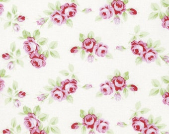 Rambling rosebuds on white by Tanya Whelan 100% cotton.  Quilters cotton, fabric by the yard, floral fabric, shabby chic roses, vintage