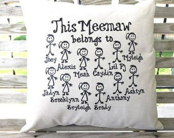 This Grandma belongs to, Personalized throw pillow cover, Throw Pillow , Throw pillow 18x18, Custom pillow, Mothers Day
