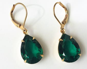 Swarovski Emerald Drop Earrings Emerald Crystal Rhinestone Earrings Wedding Bridal Jewelry Bridesmaids Jewelry Victorian Green Earrings