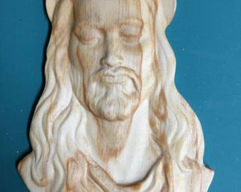 3D Carved Jesus Head Cutout Plate - Religious Jesus