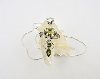 Green amethyst. Peridot. Pendant. Jewelry. Jewellery. Amethyst. Gemstone pendant. Necklace. Pendant. Sterling silver. Gemstone necklace.