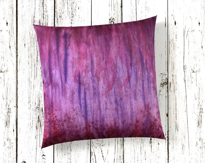 Purple Pillow 18x18-Watercolor Silk Pillow Cover-Lilac Decor-Boho Decor-Bohemian Decor-Home Decor Gifts-Gift for Her-Watercolor Home Decor