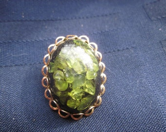 Vintage green brooch with unique stone